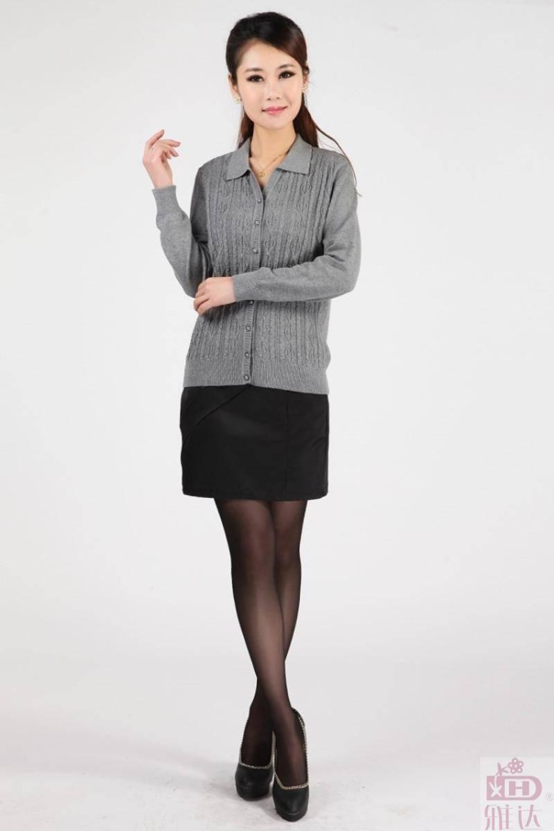 雅达2013春秋新款女针织毛衣 全棉大码翻领中老年妈妈装长袖针织开衫G2099