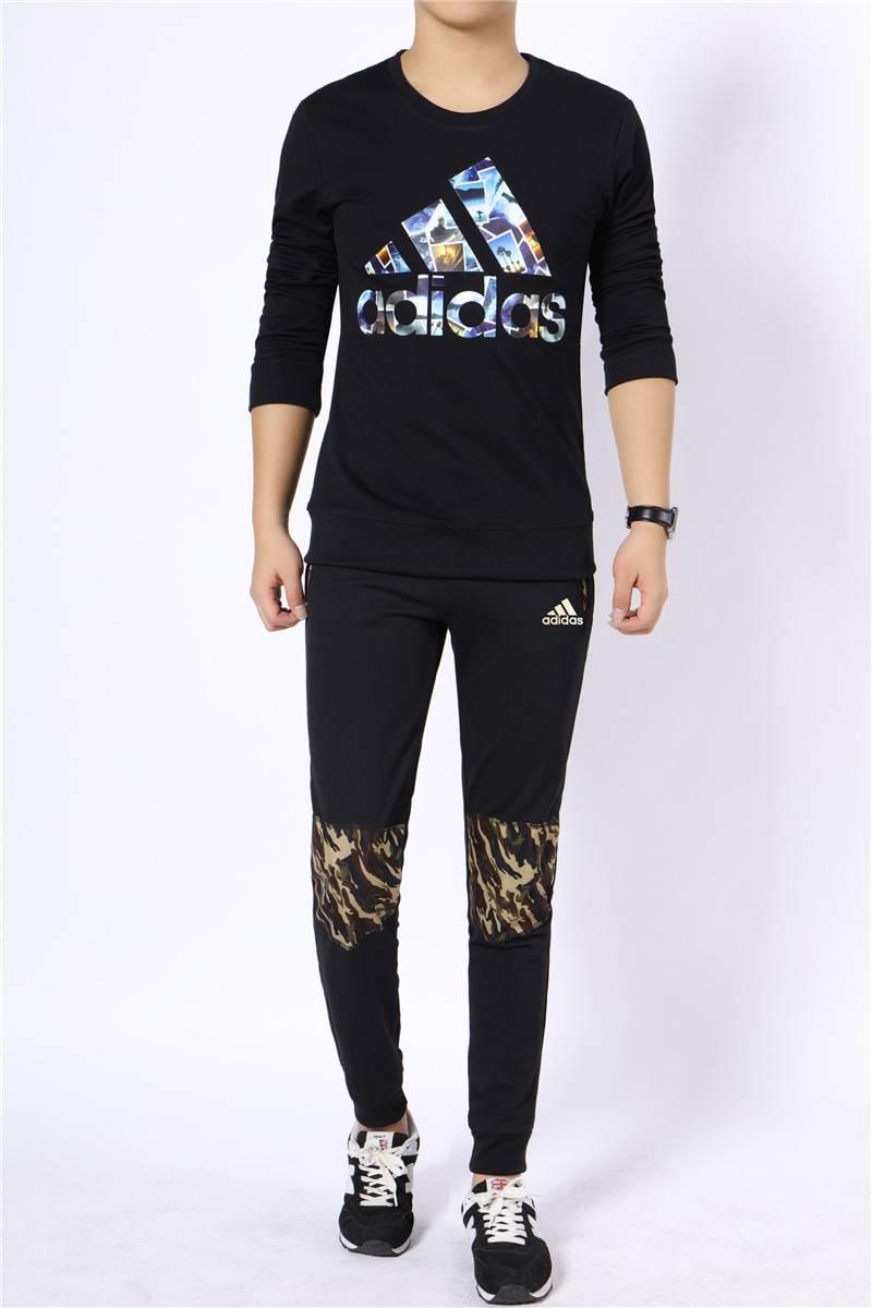 阿迪达斯 ADIDAS 男士运动套装春秋圆领套头两件套长袖男跑步运动服棉