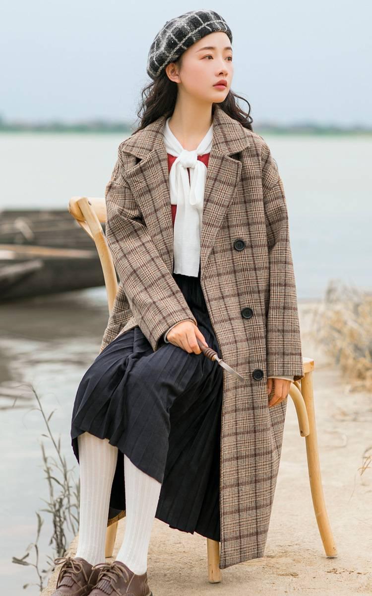 新面料     格子韩版中长款毛呢大衣