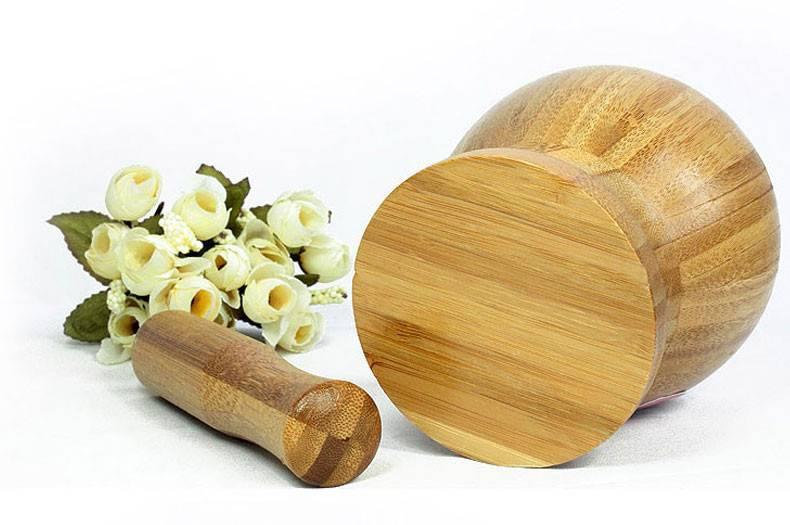 三月三 竹捣蒜罐 中号 SG01厨房竹制捣蒜器 捣面膜罐 捣药罐 搅蒜器 研钵器 捣蒜缸工具