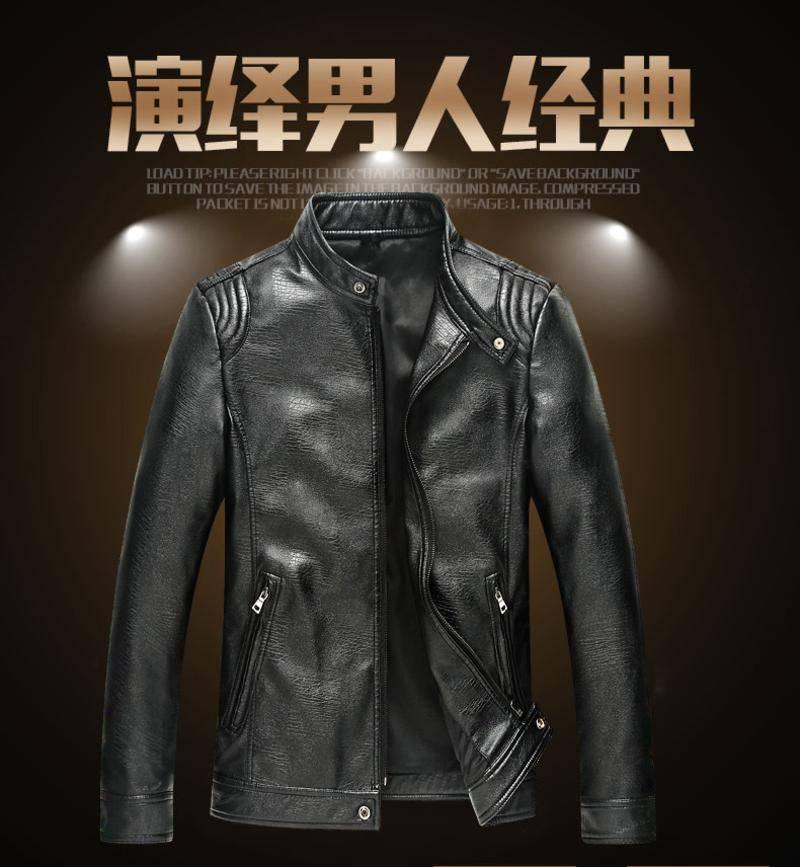 维杰斯 2018春装新款男装 男士立领皮衣外套 韩版修身时尚百搭pu外搭皮衣