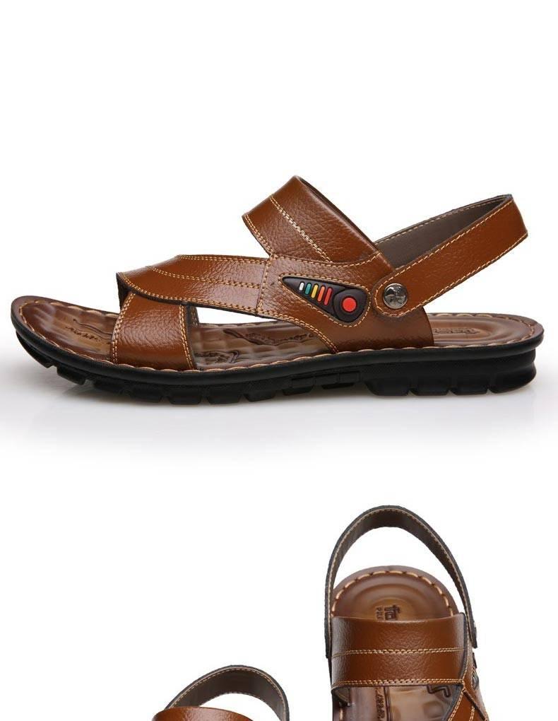 古奇天伦6815夏季凉鞋男士休闲鞋子厚底两用露趾真皮沙滩鞋防滑凉拖潮
