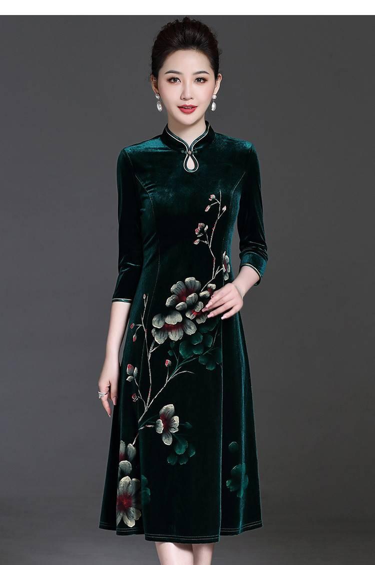高档金丝绒旗袍裙新款
