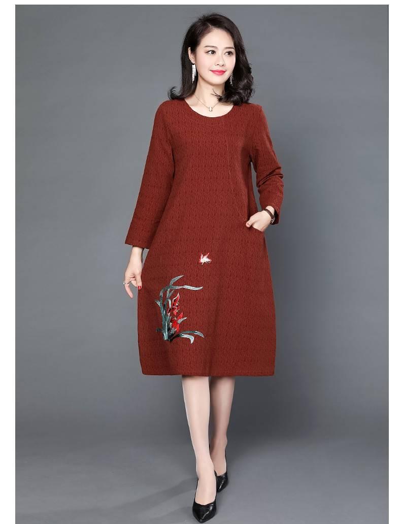 中老年时尚大码连衣裙,舒适优雅很有女人味,让妈妈美翻全世界