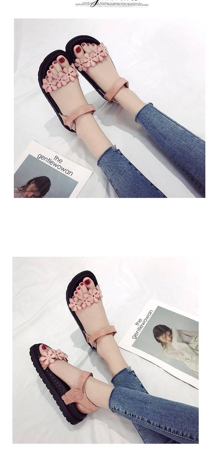 凉鞋女2018夏季新款百搭松糕鞋子韩版厚底学院女鞋学生平底罗马鞋