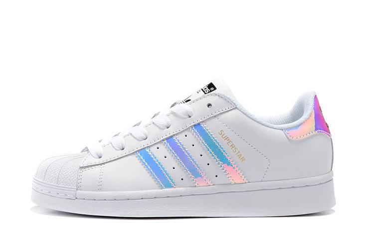 阿迪达斯男女鞋 adidas Superstar Junior 贝壳头三叶草 镭射炫彩白银休闲运动情