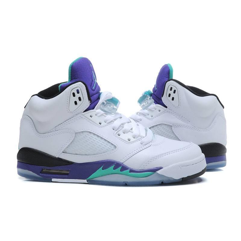 耐克 NIKE 乔丹5代篮球鞋AJ5女鞋运动鞋防滑减震白葡萄紫气垫鞋跑步鞋 440888 108