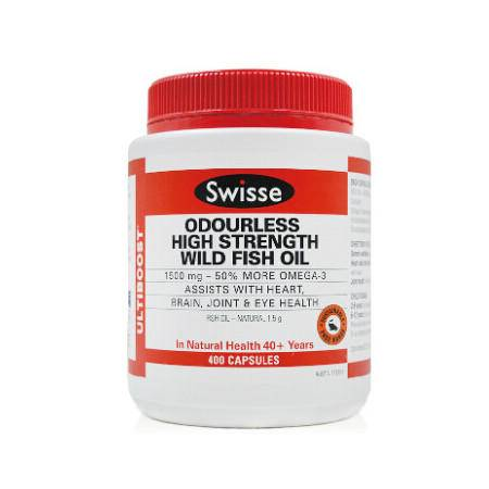 Swisse Odourless High Strength Wild Fish Oil 1500MG 深海鱼油软胶囊 400粒 X 2