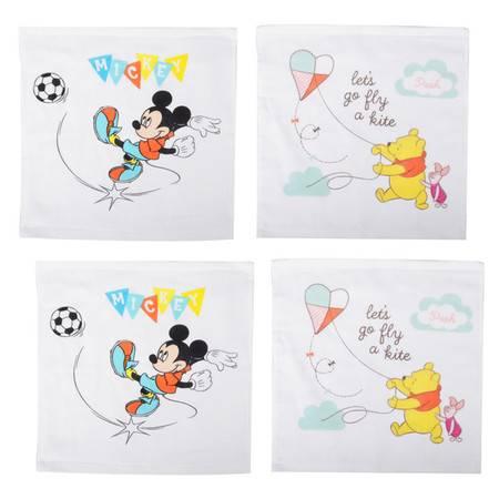 迪士尼/DISNEY 純棉卡通方巾 4條裝(花色隨機組合)