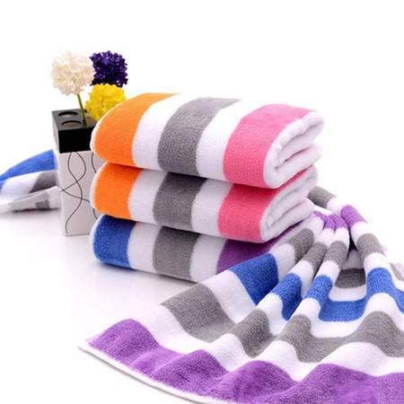 潔麗雅毛巾 純棉加厚 洗臉面巾 彩條強吸水 【4條特惠裝】顏色隨機