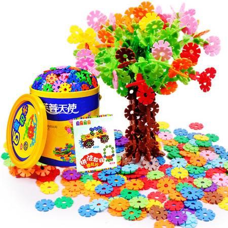 芙蓉天使 雪花片儿童积木男孩女孩塑料拼装玩具益智力桶装中号1000片图片大全 邮乐官方网站