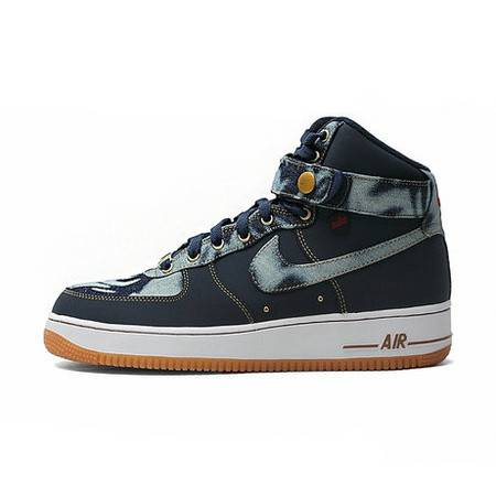 正品耐克男鞋 AIR FORCE 1 High Denim 丹宁 男子板鞋 631039-400