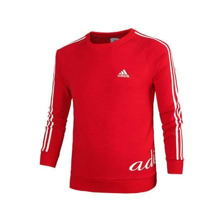 阿迪达斯Adidas新款男士运动服休闲修身加绒长袖宽松套头卫衣印花上
