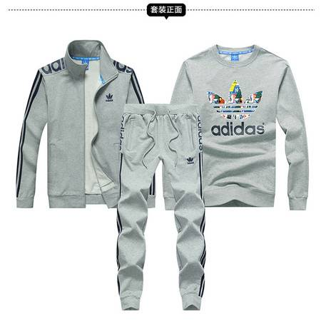 阿迪达斯 ADIDAS 三叶草运动套装男春秋纯棉青年三件套跑步男三叶草运动服