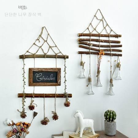 北欧简约原木麻绳手工创意墙面水培假花瓶壁挂壁饰挂件阳台装饰品图片