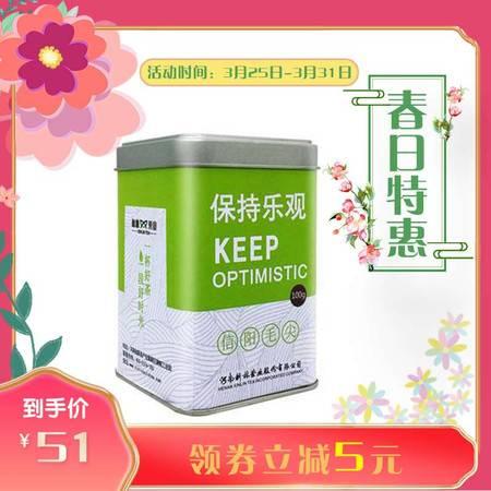 2021新茶信阳毛尖明前茶新林玉露芽茶100g铁盒精巧装