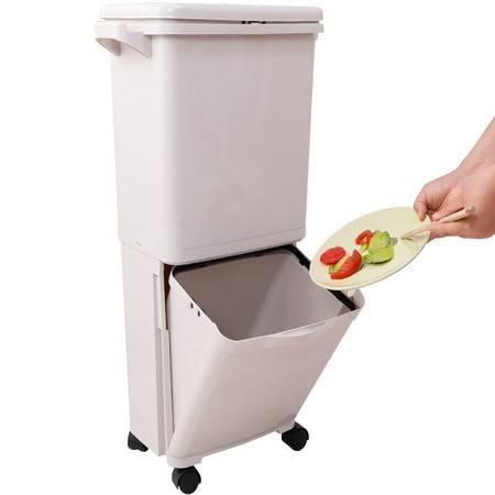 宝优妮 垃圾分类垃圾桶家用双层干湿分离拉圾箱大号 银桦色 DQ9071-18