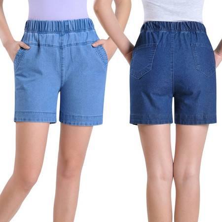 2017夏季新款中年女士牛仔短裤薄款牛仔裤妈妈装弹力松紧腰四分裤ouf518