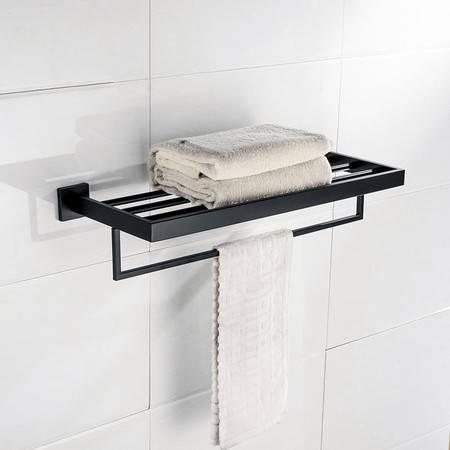 卫欲无限 黑色玛莎抗锈 304不锈钢 毛巾架 毛巾杆 浴巾架 Q7001H