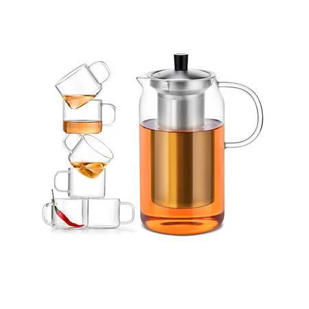 尚明 耐热玻璃泡茶壶1200m 1壶6杯套装(S046)