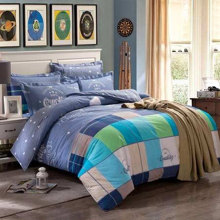 逸轩家纺 床品套件 全棉印花四件套 1.5米/1.8米床通用  被套200*230