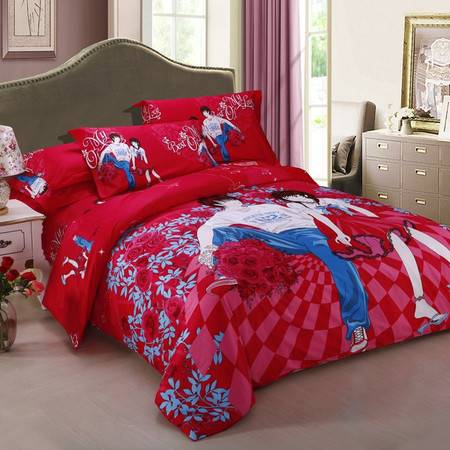 逸轩家纺 全棉缎纹活性印花四件套  1.8/2.0米床被套220*240cm