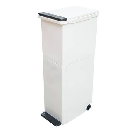禧天龙 厨房双层分类垃圾桶 带轮干湿分离 翻盖垃圾筒 T-3329 奶白桶白盖