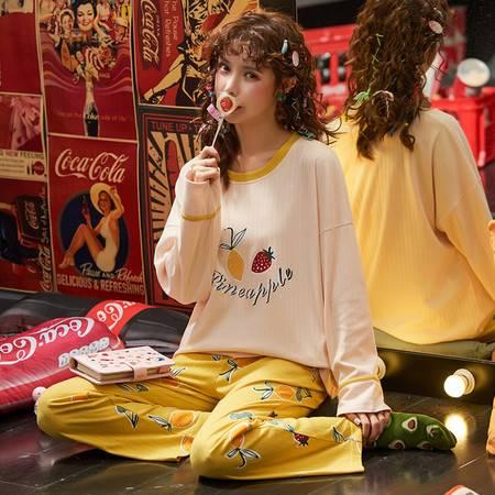 馨霓雅水果印花针织棉休闲运动女款秋季睡衣6611