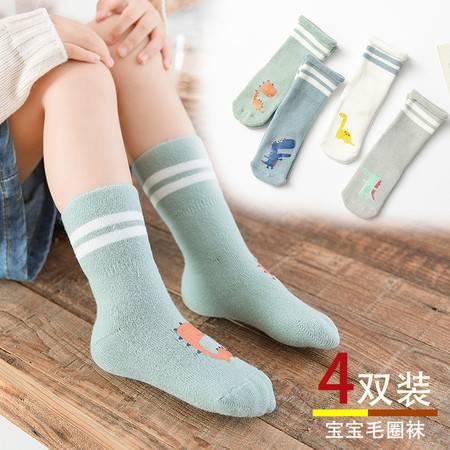 【4双装】2019婴儿袜秋冬卡通宝宝毛圈棉袜
