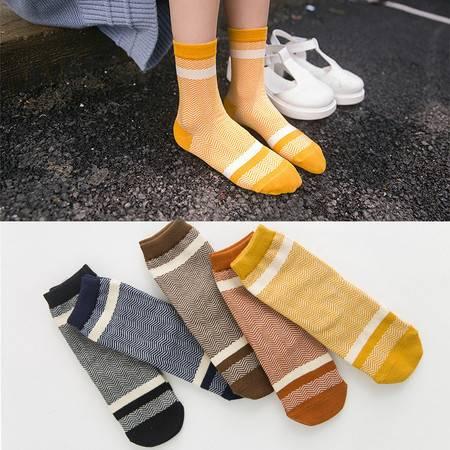 【5双装】直板带跟波浪纹女袜韩版中筒袜A002