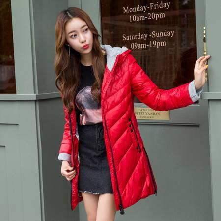 梦娜世家正品新款女士中长款 韩版修身针织帽羽绒服28362