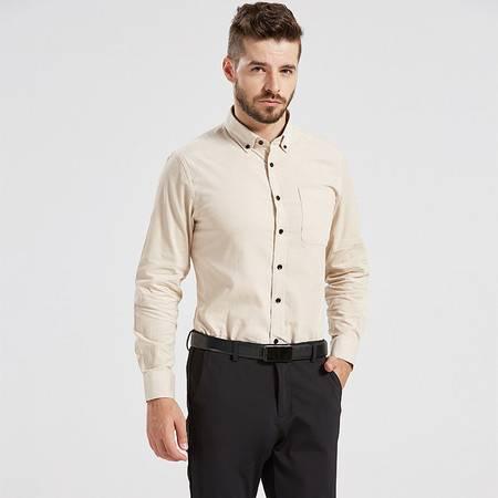 俞兆林2018春秋新品男士商务休闲纯色纯棉灯芯绒长袖衬衫CX18001