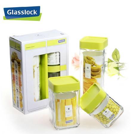 GlassLock/三光云彩玻璃积木式储物罐三件礼盒套装IG589