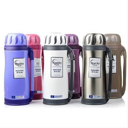 楼龙保温杯真空不锈钢旅行壶男女运动水壶保温水瓶 1.2L 颜色随机