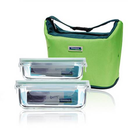 三光云彩钢化耐热玻璃保鲜盒400ml+715ml 2件套装GL12B