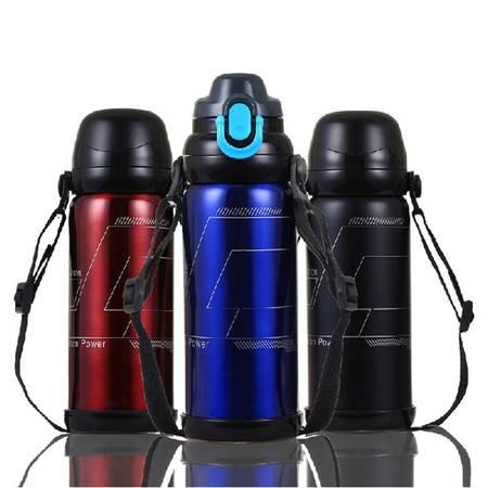 普润  800ML真空不锈钢保温壶 双盖儿童保温瓶旅游运动水壶 黑色