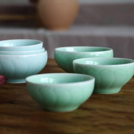 龙泉青瓷饭碗陶瓷碗莲花纹可爱精致饭碗梅子青