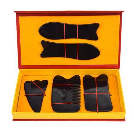 牛角刮痧板套装五件套全身通用 刮面部脸部背部刮沙板头部经络梳