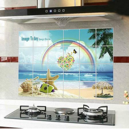 10张装厨房防油贴纸吸油烟机耐高温灶台贴铝箔隔油墙贴纸75X45cm 花色随机
