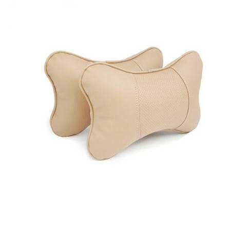 卡饰得 皮革头枕 骨头枕 对装*2个 环保无异味 高弹性 汽车枕