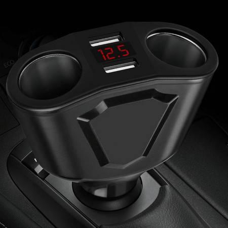 卡饰得 四合一多功能车载充电器 一分二两孔点烟器 电压监测 双USB接口  120W功率