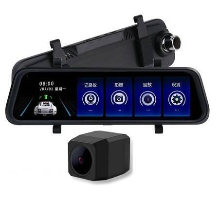 卡饰得 双镜头行车记录仪 10寸触控后视镜高清记录仪 十寸流媒体倒车后视 1296P高分辨率
