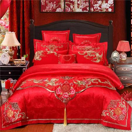 精新大红婚庆结婚全棉床品套件十件套加大