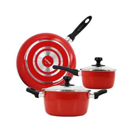 苏泊尔/SUPO锅具三件套炒锅汤锅煎锅奶锅套装厨具用烹饪锅促销酒红色VTP1605T