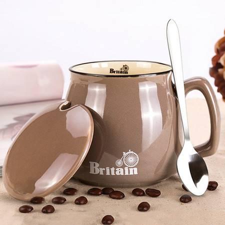 贝瑟斯 咖啡杯套装 马克杯带盖带勺创意陶瓷杯BS-3061