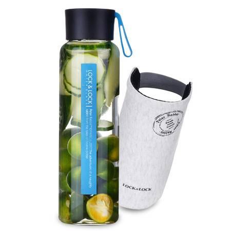 乐扣乐扣 耐热玻璃水瓶500ml 男女士泡茶杯便携时尚玻璃水瓶杯子 LLG659 两色可选
