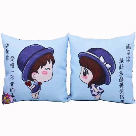 可爱卡通枕头   抱枕十字绣  一对(含枕芯需要自己秀)