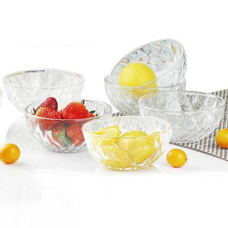 新礼享 钻石玻璃碗 家用饭碗汤碗沙拉碗 6只套装 ZS01