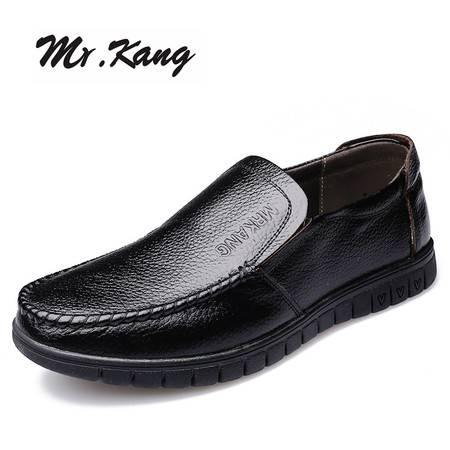 米斯康男鞋新款男士商务休闲皮鞋英伦套脚圆头牛皮鞋子爸爸鞋