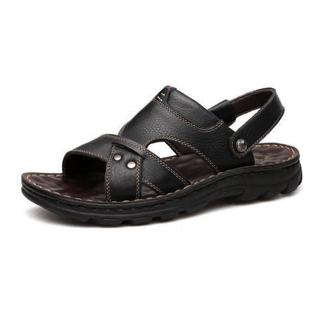 米斯康男凉鞋夏季休闲透气凉爽防滑凉拖鞋露趾按摩软底爸爸沙滩鞋1919-1
